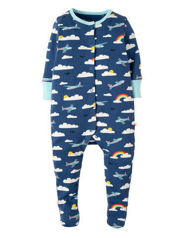 Image of Frugi Lovely Babygrow - Marine Blue Fly Away - Tilly & Jasper