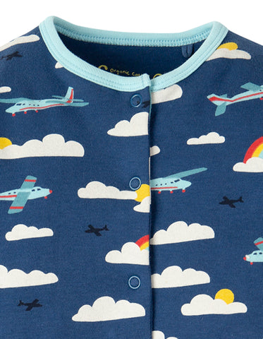 Frugi Lovely Babygrow - Marine Blue Fly Away - Tilly & Jasper