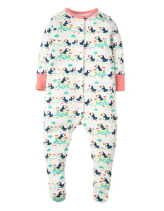 Frugi Lovely Babygrow - Soft White Puffin Parade - Tilly & Jasper