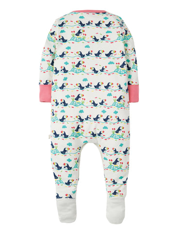 Frugi Lovely Babygrow - Soft White Puffin Parade