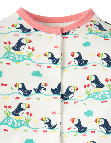 Image of Frugi Lovely Babygrow - Soft White Puffin Parade - Tilly & Jasper