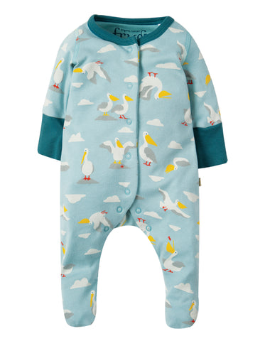 Frugi Lovely Little Babygrow - Pelican Party - Tilly & Jasper
