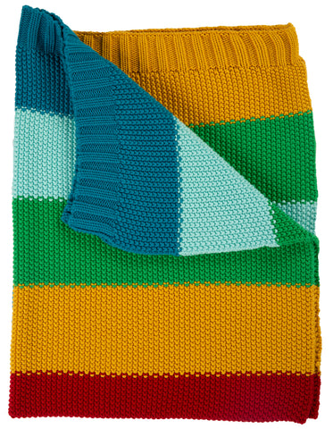 Image of Frugi Cuddle Up Blanket - Rainbow Stripe