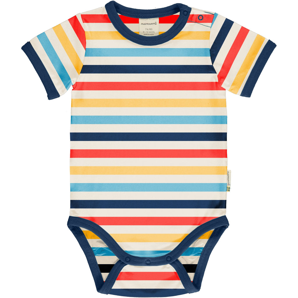 Maxomorra Short Sleeve Body - Stripe Milk