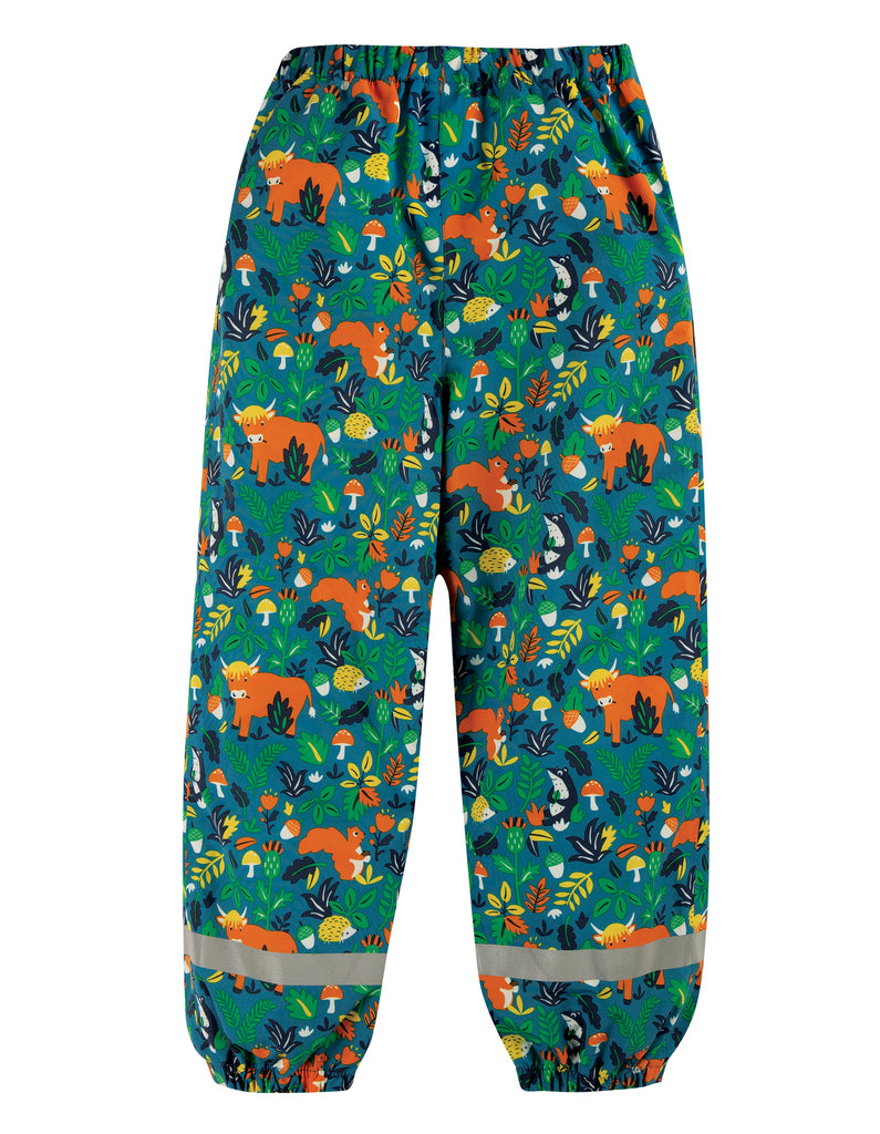 Frugi Rain Or Shine Trousers - Loch Blue Woodland Critters