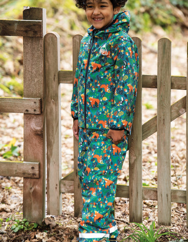 Image of Frugi Rain Or Shine Trousers - Loch Blue Woodland Critters