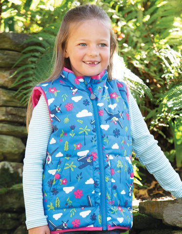 Image of Frugi Explorer Gilet -  Sail Blue Fly High - Tilly & Jasper