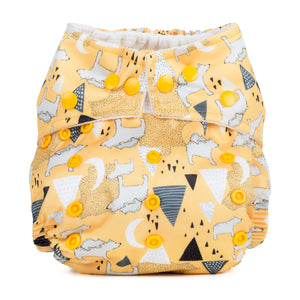 Baba & Boo One Size Nappy - Polar Bears - Yellow - Tilly & Jasper