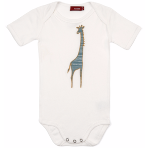 Organic Applique One Piece - Blue Stripe Giraffe