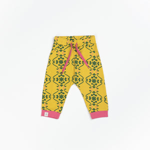 Alba Lucca Baby Pants - Ceylon Yellow Flower Tiles - Tilly & Jasper