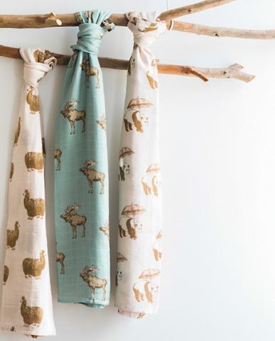 Image of Giant Muslin Bamboo Swaddle Blanket - Tutu Elephant