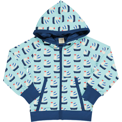Maxomorra Hooded Cardigan - Sailboat