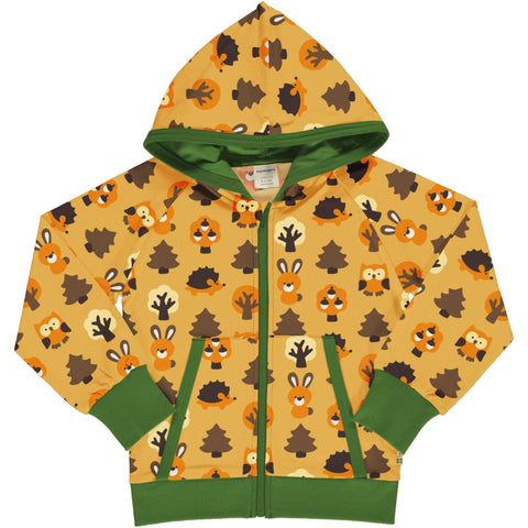 Maxomorra Hooded Cardigan - Yellow Forest
