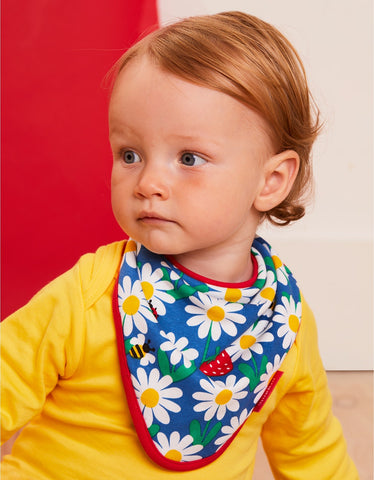 Image of Toby Tiger Blue Daisy Print Dribble Bib