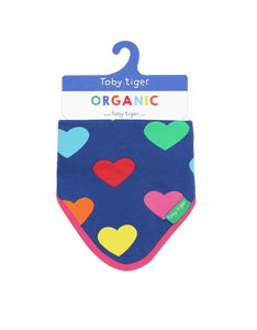 Toby Tiger Multi Heart Print Dribble Bib