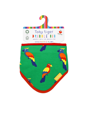 Image of Toby Tiger Parrot Print Dribble Bib