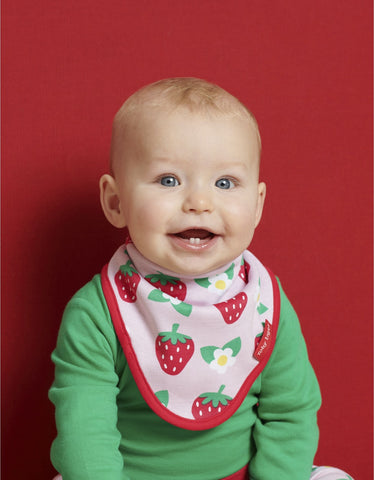 Image of Toby Tiger Strawberry Print Dribble Bib