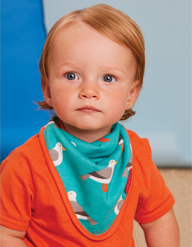 Image of Toby Tiger Teal Seagull Print Print Dribble Bib