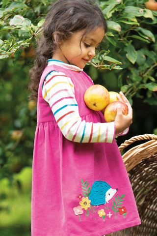 Frugi Lily Cord Dress - Foxglove/Hedgehog