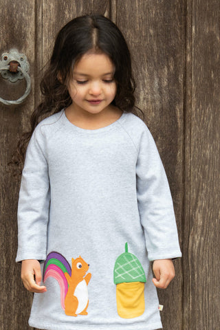 Image of Frugi Peek A Boo Dress - Aubergine Lost Words