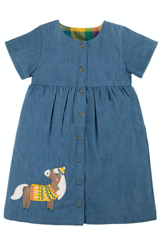Frugi Romilly Reversible Dress - Chambray/Horse