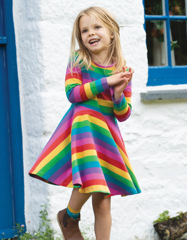 Image of Frugi Sofia Skater Dress - Foxglove Rainbow Stripe
