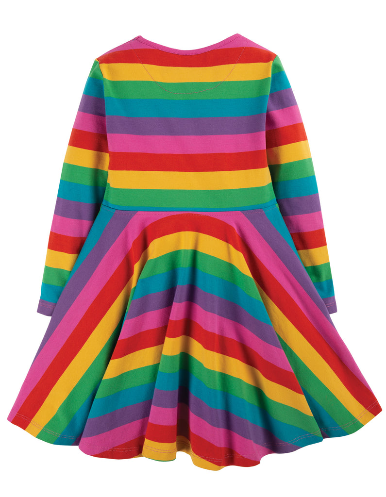 Frugi Sofia Skater Dress - Foxglove Rainbow Stripe