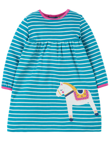 Image of Frugi Dolcie Dress - Seaglass Breton/Dala Horse - Organic Cotton