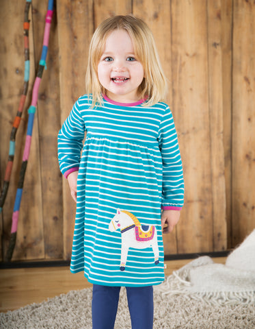 Image of Frugi Dolcie Dress - Seaglass Breton/Dala Horse - Tilly & Jasper