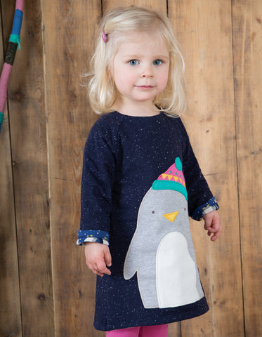 Image of Frugi Peek A Boo Dress - Penguin Huddle/Penguin