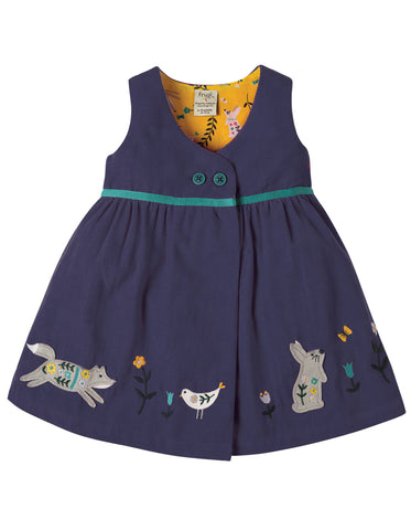 Image of Frugi Peony Party Dress - Navy/Alpine Friend - Organic Cotton