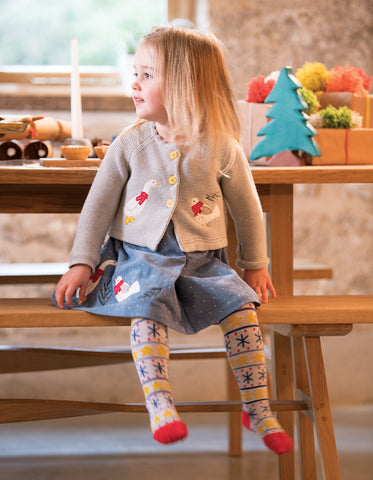Frugi Peony Party Dress - Stone Blue Snowy Spot/Duck - Organic Cotton