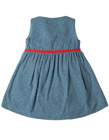 Frugi Peony Party Dress - Stone Blue Snowy Spot/Duck