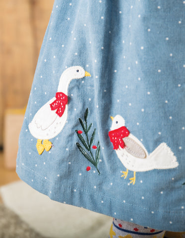 Image of Frugi Peony Party Dress - Stone Blue Snowy Spot/Duck - Tilly & Jasper
