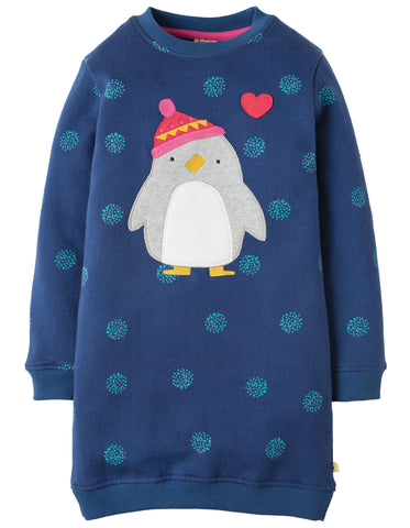 Frugi Eloise Jumper Dress - True Blue Snowball/Penguin - Organic Cotton