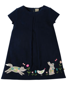 Frugi Holly Cord Dress - Navy/Alpine Friend