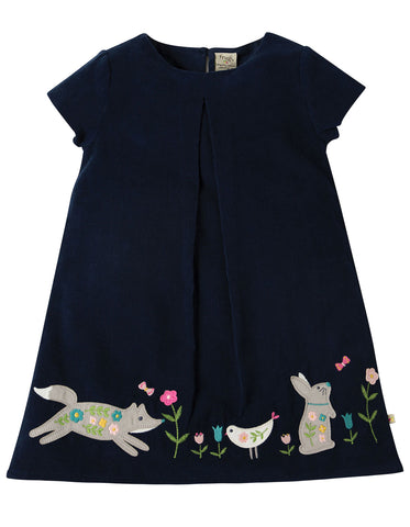 Image of Frugi Holly Cord Dress - Navy/Alpine Friend - Tilly & Jasper