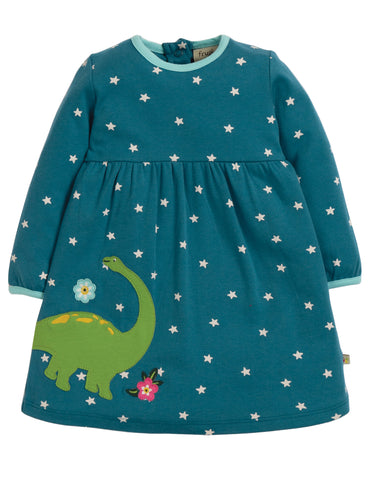 Frugi Dolcie Dress - Steely Blue Star/Dino - Tilly & Jasper