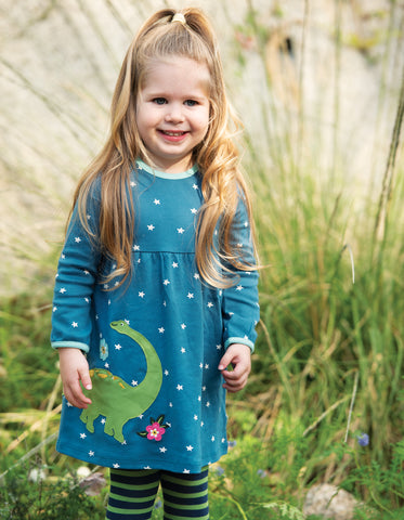 Frugi Dolcie Dress - Steely Blue Star/Dino