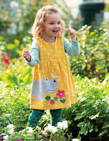 Frugi Lily Cord Dress - Bumble Bee Spot/Hippo