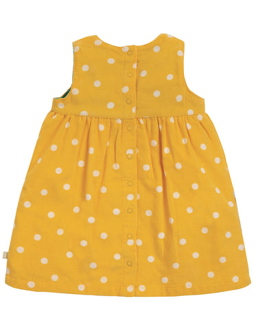 Frugi Lily Cord Dress - Bumble Bee Spot/Hippo - Tilly & Jasper