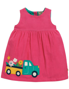 Frugi Lily Cord Dress - Flamingo/Flower Truck - Tilly & Jasper
