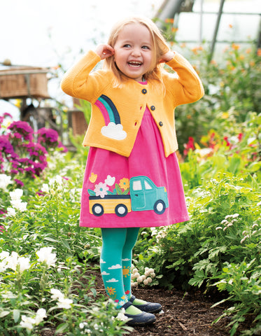 Frugi Lily Cord Dress - Flamingo/Flower Truck