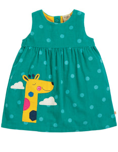 Frugi Lily Cord Dress - Topaz Blue Polka/Giraffe - Tilly & Jasper