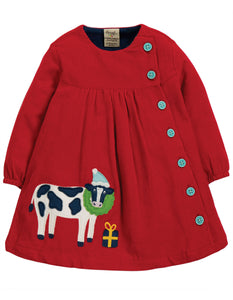 Frugi Little Bonnie Button Dress - Tango Red/Cow