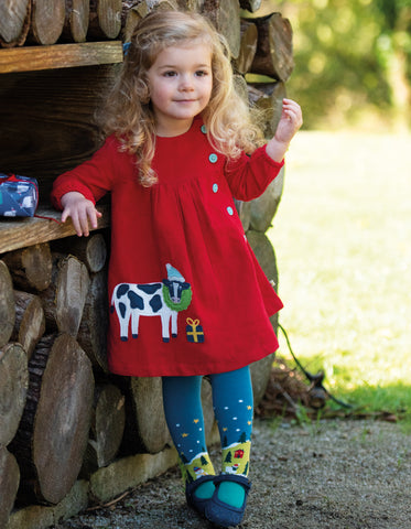 Image of Frugi Little Bonnie Button Dress - Tango Red/Cow