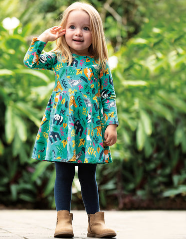 Frugi Sofia Skater Dress - Aqua Endangered Heroes