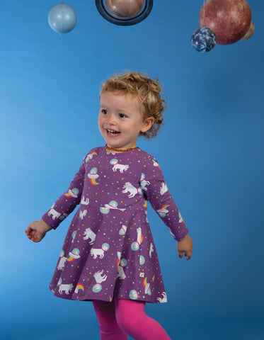 Image of Frugi Sofia Skater Dress - Amethyst Unicorn