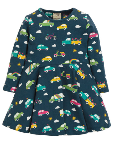 Frugi Sofia Skater Dress - Space Blue Rainbow Roads