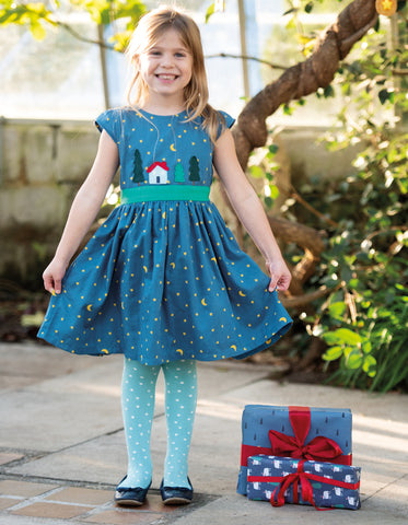 Frugi Sparkle & Shine Dress - Moonlight/Christmas Town